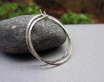 Sterling Silver Hoop Earrings, Argentium Silver Hoop Earrings, Hammered Hoop, 1 Inch, Silver Medium Hoop, Classic Hoops, Modern Jewelry