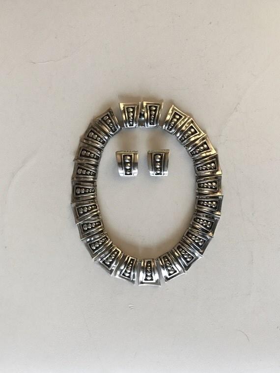 Margot de Taxco Sterling Silver Mexico Choker Necklace Earrings Set - Margot van Voorhies Carr (Model 5247)