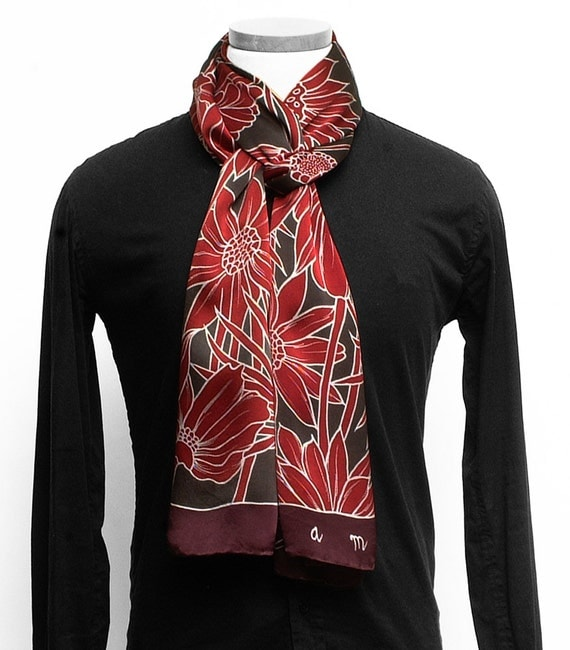 Hand painted Silk scarf, Mens silk scarf, Flower scarf, Hand made scarf, floral scarf, Unique Scarf, Batik Handpainted, burgundy scarf