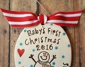 Baby's first Christmas Large Snowman personalized ornament - new baby - 1st christmas-  christmas tree ornament