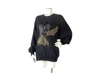 Vintage 80s Sweater - 80s Black Sweater - Black Gold Sweater - 80s Jeweled Sweater - Doman Sleeves - 70s Disco Sweater - 70s Dolman Sweater