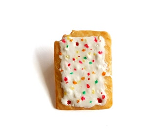 Strawberry Pop Tart Pin, Pop Tart Brooch, Toaster Pastry Charm, Miniature Food Jewelry, Food Pin
