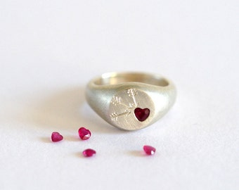 Ruby Heart Signet Ring, Cupid, Handmade Silver Signet Ring, Sterling Silver Signet, Silver Ruby Ring, RockCakes
