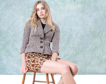 DOLCE and GABANNA wool BLAZER women herringbone Brown Cream fitted jacket spring Designer / Small Xs / better Stay together