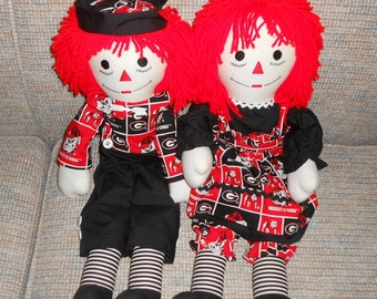 25 inch Georgia Bulldogs Raggedy Ann and Andy Doll Sets