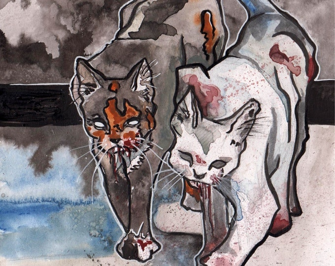 Featured listing image: Scary Cats - Spooky Illustration of Killer Kitties - Original Watercolor and Ink Drawing of Cats - The No Sleep Podcast Art - Bloody Paws