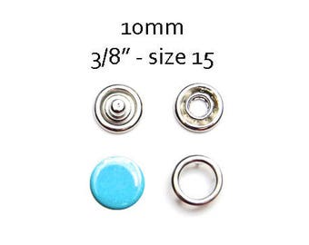 25 sets Snap Fasteners 10MM. blue turquoise metal snaps. no sew snap buttons. metal prong snaps. capped prong ring snaps #700113