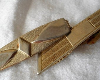 2 VINTAGE Gold Metal Mens Tie Clip Bar Costume Jewelry