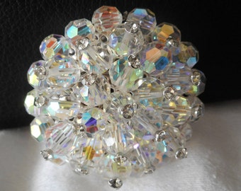 VINTAGE Crystal Aurora Borealis Cluster Beaded Costume Jewelry Brooch