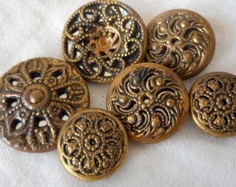 Lot of 6 VINTAGE Pierced Metal Twinkle Sewing BUTTONS
