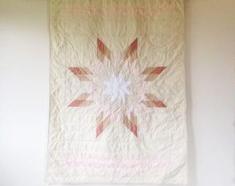 Modern Star Quilt | Modern Baby Girl Quilt | Lone Star Quilt | Crib Quilt | Pink Rose White Ivory