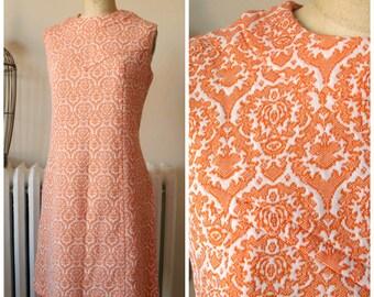 Tangerine Dream | Vintage 1960's Dress MOD Orange and White Damask Jersey Shift Dress Jacquard Knit Sleeveless A-Line Dress