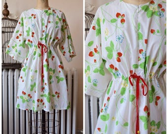 Strawberry Fields | Vintage 1960's 1970's Dress Cotton Fruit and Floral Print Zip Front Mini-Dress Swimsuit Cover Up Drawstring Waist
