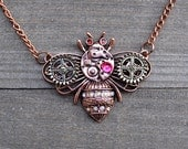 Steam Punk Necklace Pink Gold Bumble Bee Watch Gear Clock Gears Pendant Artisan Victorian Inspired SteamPunk Fashion