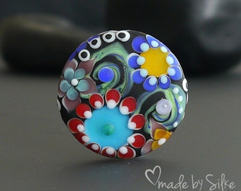 Handmade lampwork focal bead  |  Meeting At Midnight   |  artisan glass |  SRA | OOAK  |     made by Silke Buechler