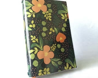 Paperback Book Cover - Reusable, Protective and Adjustable - Large Trade Size - Stylish Book Cover with Orange and Green Foliage On Black