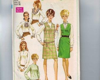 1960s Vintage Sewing Pattern Simplicity 7765 Misses Jumper Dress Vee V Neck Under Blouse Romantic Collar Ruffle Jabot Size 16 Bust 38 UNCUT