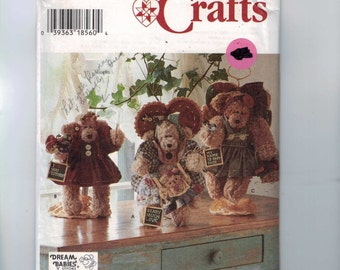 Craft Sewing Pattern Simplicity 7000 Stuffed Decorative 12 Inche Teddy Bear Stuffed Animal Country School Angel  UNCUT