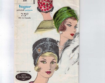 Vintage 1960s Craft Pattern Vogue 5094 Misses John Frederics Designer Hat Turban 1960 60s UNCUT