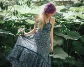 Sale - AGAVE DRESS - Bohemian Hippie Maxi Elegant Prom Wedding Party Burning man Maternity Gypsy Ethnic Ornament - Blue white flower