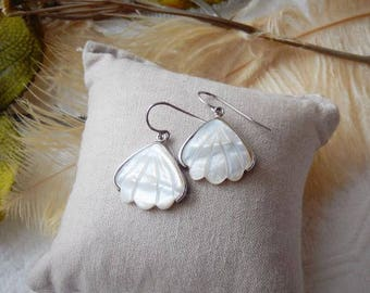 Sterling Silver and Mother of Pearl Shell Earrings