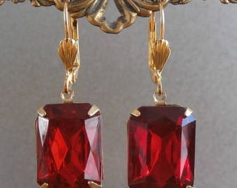 Antique Vintage Czech Crystal Ruby Red Siam ~ Octagon Shape Antique 1930s ART DECO Czech Ruby Red Crystal Glass Earrings ~ Gold Foil Back
