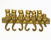 Vintage Brass Wall Mounted Cat Tail Key Rack with Six Hooks