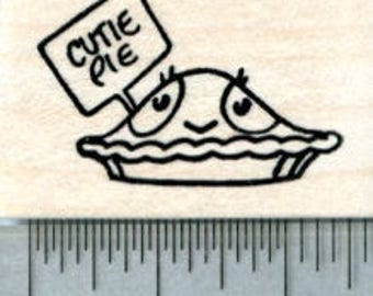 Valentines Day Rubber Stamp, Cutie Pie D31707 Wood Mounted