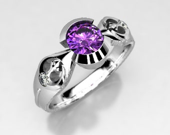 star wars rebel alliance geek engagement ring in silver palladium or gold amethyst - Star Wars Wedding Ring