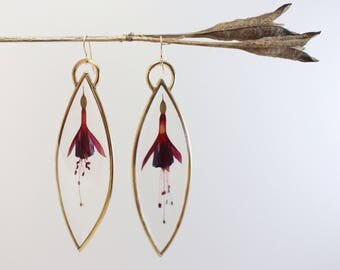 Large Fuchsia Flower Earrings ||| In the Looking Glass / Pressed Flower Drops