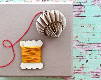 Wood Gift Spool Mustard Twine   Cotton   Mustard Yellow Twine String   Holiday Twine   Christmas Twine   Small Gift Wrapping   Gift under 5