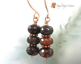 Burgundy Red Gemstone Earrings, Jewel Earrings, Agate Stone Dangles, Copper Earrings, Gift for Women, Jewelry for Her, Present for Wife E395