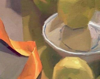 "Art oil painting fruit still life by Sarah Sedwick ""The Orange Ribbon"" 10x20"""