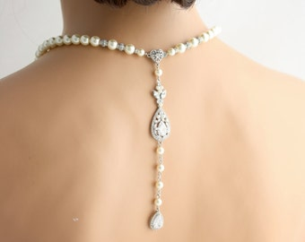 Wedding Necklace Backdrop Necklace Wedding Jewelry Pearl Back Drop Bridal Necklace Pearl Crystal Wedding Jewelry VIVIENNE