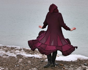 Faraway 5X frankensweater wool free plum textured upcycled gypsy coat sweater 146