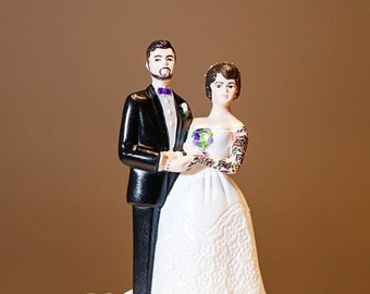 Tattooed Wedding Cake Topper . Vintage Style . Custom Painted and Personalized to Resemble You