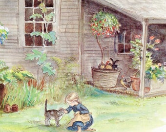 Vintage Print, 1970's Vintage Tasha Tudor Child's Bookplate Illustration, Print, Springs of Joy, Girl, Cat and Farm House,  Verse