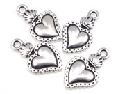 TierraCast Heart Milagro Charms - Antique Silver Heart Charms - Viva Mexicana Tierra Cast Sacred Heart Charms (P841)