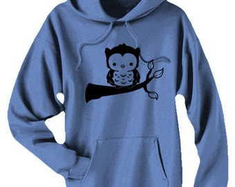 Cute Hoodie Owl sweatshirt kawaii baby owl on branch mori kei cute forest animal hipster hoodie gift for nature lover