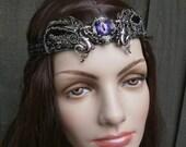 Gothic Steampunk Winged Purple Eye Dragon Crown Circlet