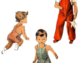 Child's Playsuit Pattern 1940s Overalls Blouse WWII Era Sunsuit Children's Du Barry Vintage Sewing Toddler Boy's Size 1 Chest 20 Inches
