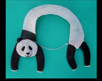 Panda necklace - cute animal jewelry, statement necklace, head and tail necklace