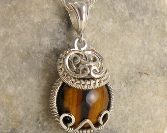 Tigers Eye Jewellery - Tiger Eye Necklace  - Tigers Eye Pendant - Tigers Eye Necklace - Unique - Woven Wire - Sterling Silver  - Wrap