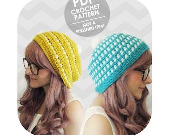 crochet pattern - 2 for 1 cute striped crochet hat - easy crochet pattern - slouchy hat crochet pattern - instant download pdf