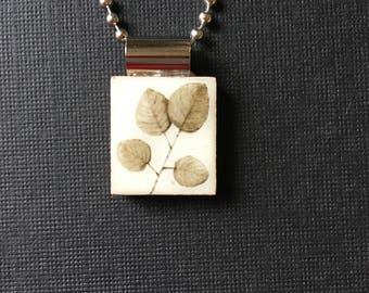 Sepia toned leaves pendant, handmade necklace, leaf necklace, nature jewelry, pendant with leaves, branch and leaves pendant, nature gift