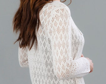 Bamboo Lace Cardigan - Winter White