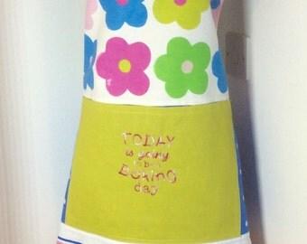 Baking apron,Ladies apron-Baking Day embroidered apron OOAK