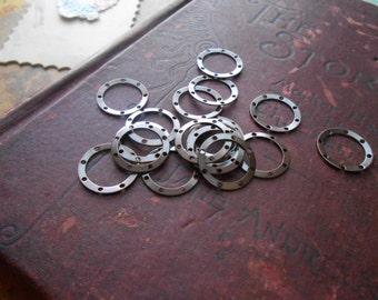 38 oxidized copper hoop findings - destash lot