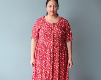 plus size dress   plus size 90s midi dress   red floral dress   XXL