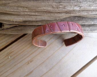 Copper Cuff with Pressed Design